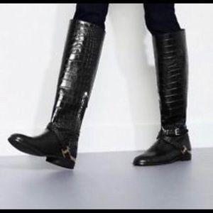 Zara Black Croc Boots w Chain SZ 10 / Euro 40
